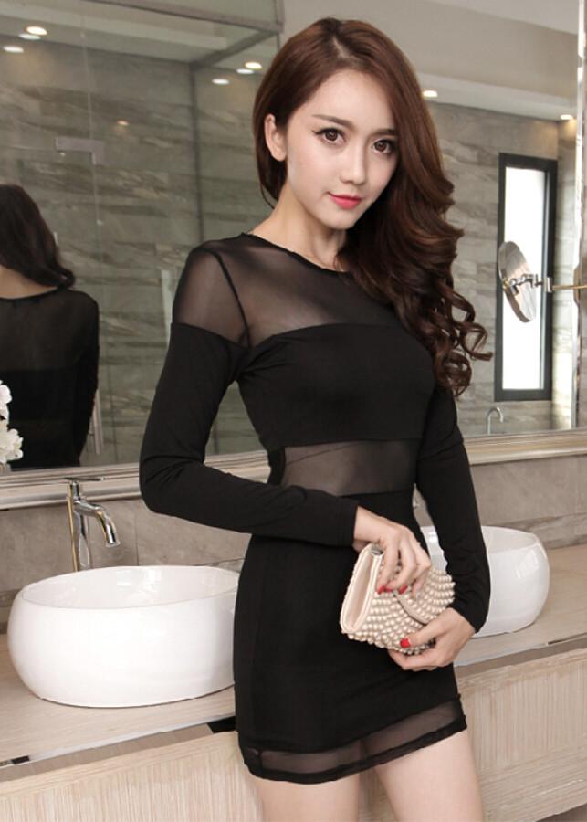 Váy Nữ Ngắn Tay Dài Sexy Night Noir