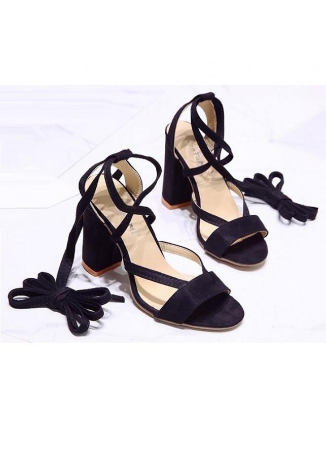 Giày cao gót đế vuông 10 phân quấn dây S082