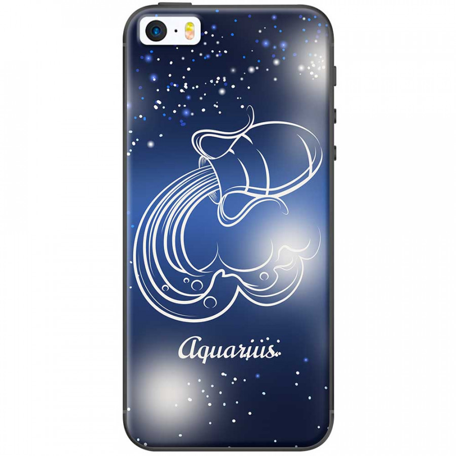 Ốp lưng  dành cho iPhone 5, iPhone 5s mẫu Cung hoàng đạo Aquarius (xanh)