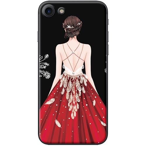 Ốp Lưng Hình Cô Gái Váy Đỏ Nền Đen Dành Cho iPhone 7 / 8