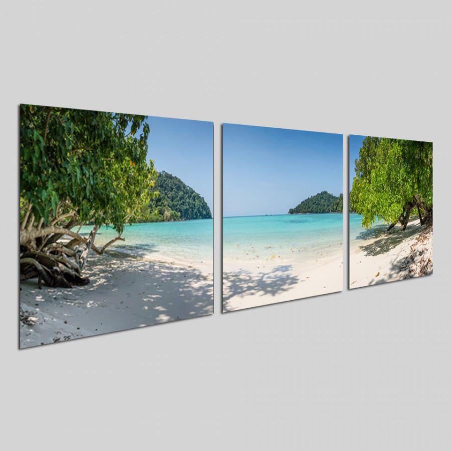 Bộ tranh 3 tấm phong cảnh biển tuyệt đẹp - tranh gỗ treo tường - dạng hình vuông từng tấm