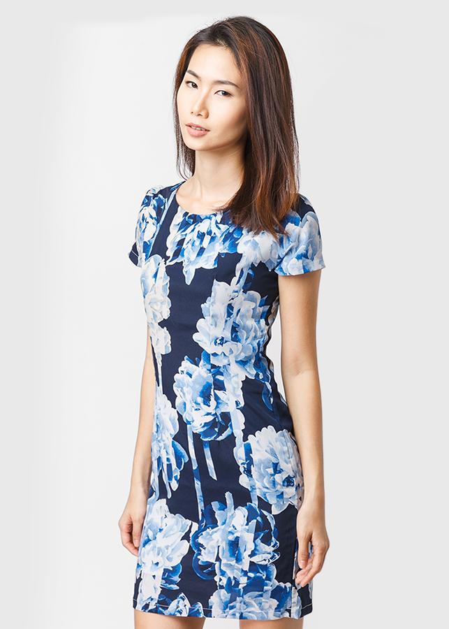 Đầm Suông Voan Họa Tiết Hoa - Xanh - Citino