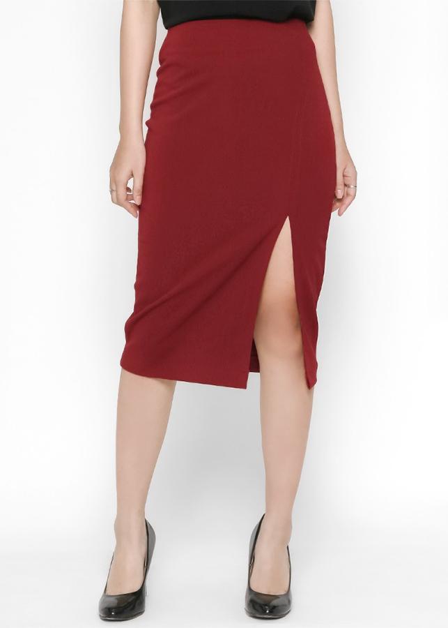 Chân Váy Ôm Xẻ Đùi Trước De Leah - Đỏ