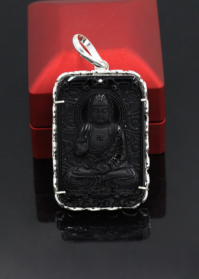 Mặt Dây Chuyền Phật A Di Đà Bản Vuông Bọc Bạc VCB