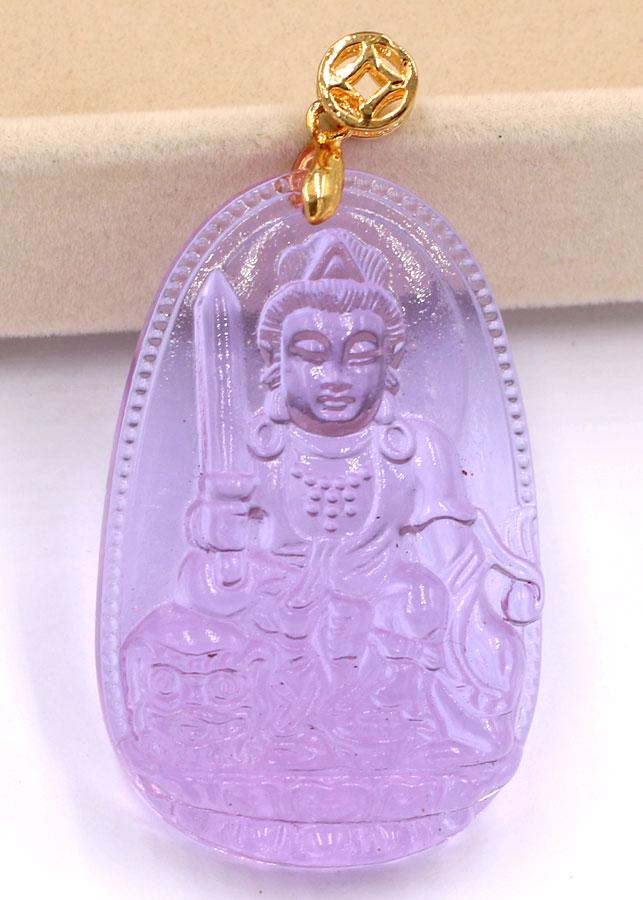 Mặt dây chuyền Phật Văn Thù Bồ Tát đá pha lê 5 cm - Phật bản mệnh tuổi Mão - Phù hộ độ trì, hóa giải điềm...