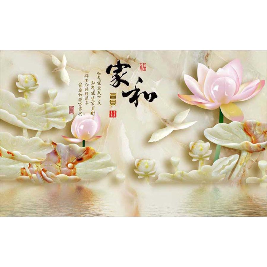 Tranh dán tường phong thủy hoa sen cá chép 3d 332