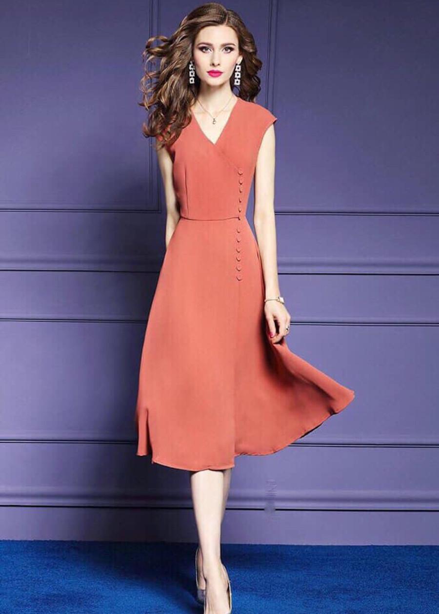Đầm Suông Voan Đính Nút Sang Trọng Korea TT - KRTT138250