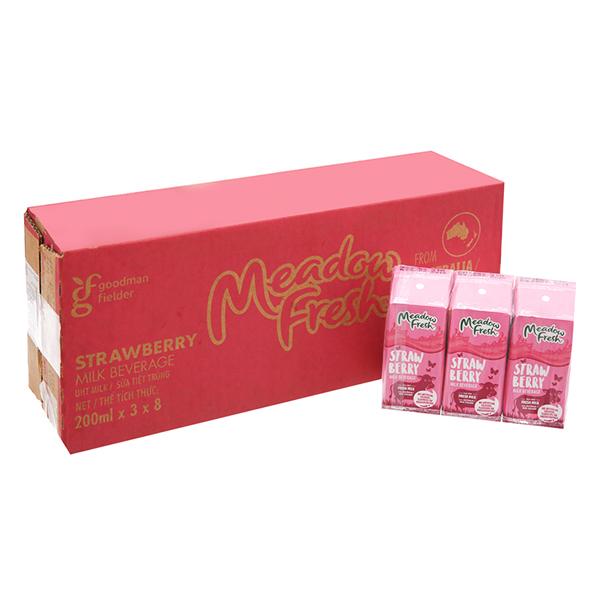 Thùng 24 Hộp Sữa Tươi Tiệt Trùng Dâu Meadow Fresh (200ml / Hộp)