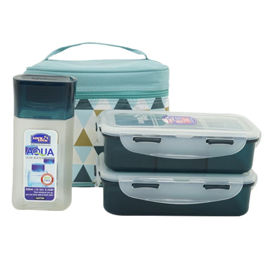 Bộ Túi Hộp Cơm LockLock Triangle Pattern Bag HPL758S3AB (470 - 470 - 300 ml) - Xanh