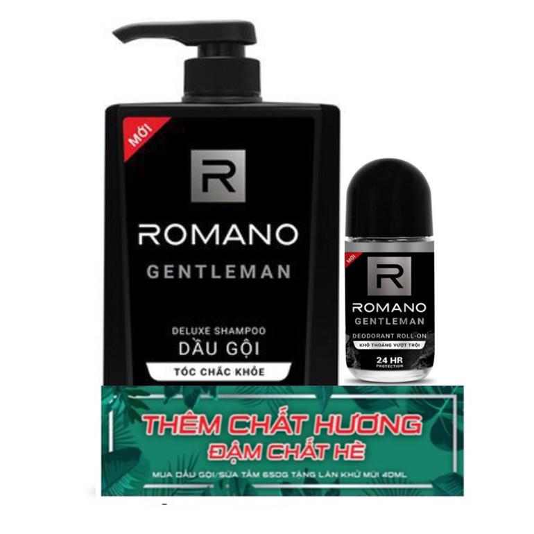 Dầu gội Romano Gentleman 650g tặng kèm lăn khử mùi Gentleman 40ml - 1830082 , 7683845705434 , 62_13608451 , 162000 , Dau-goi-Romano-Gentleman-650g-tang-kem-lan-khu-mui-Gentleman-40ml-62_13608451 , tiki.vn , Dầu gội Romano Gentleman 650g tặng kèm lăn khử mùi Gentleman 40ml