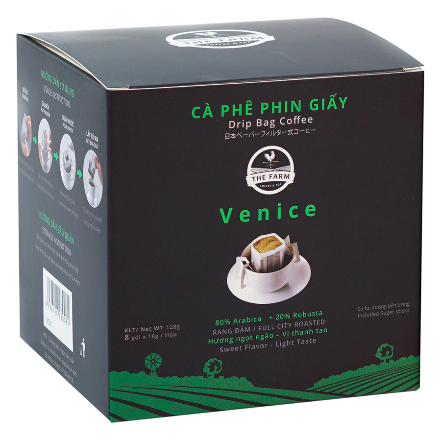 Cà Phê Phin Giấy Venice The Farm Coffee  Tea CP01 (8 Gói x 16g)