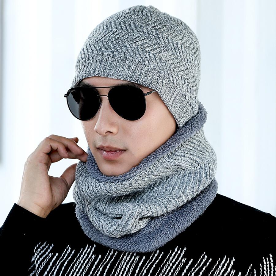 Mũ Len Nam Kèm Khăn Tròn Quấn Cổ Lan Shiyu M0362