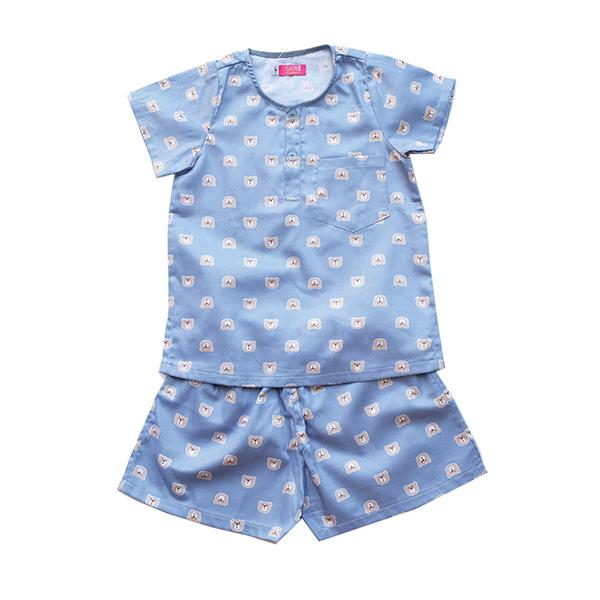 Pyjama Bé Trai In Gấu Nền Xanh Xám Cuckeo Kids T61813 - Xanh