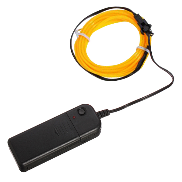 5M Car Neon Lamp Xmas Glow Light EL Wire Party W/Battery Case Tube Rope