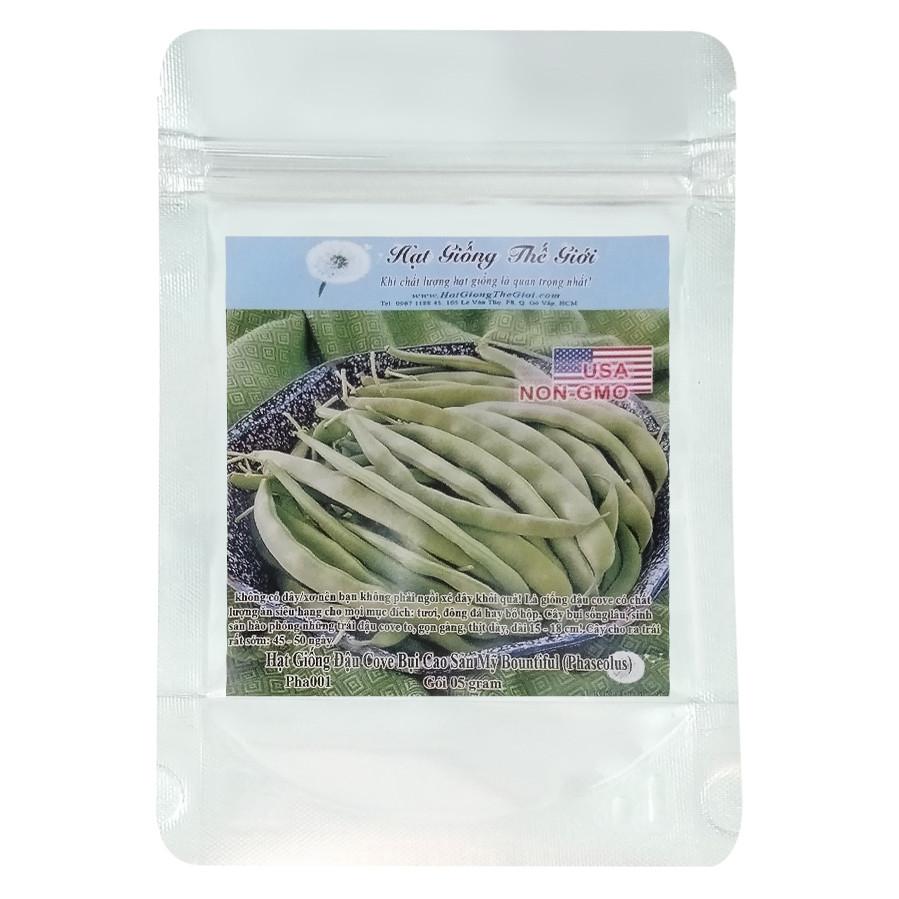 Hạt Giống Đậu Cove - Bụi Cao Sản Mỹ Bountiful - Phaseolus vulgaris (5g)