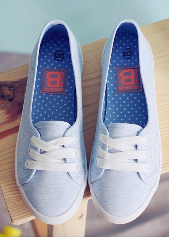 Giày slip on nữ vải cotton màu xanh