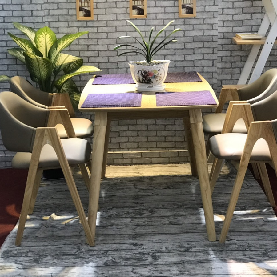 Bộ bàn ghế chữ A màu tự nhiên 4 ghế