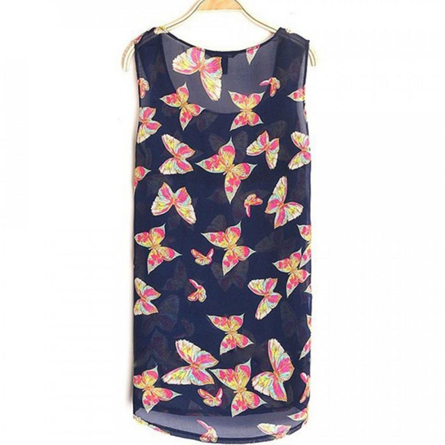 Hot Women Butterfly Print Sleeveless Casual Chifffon Blouse Shirt Vest Tank Tops