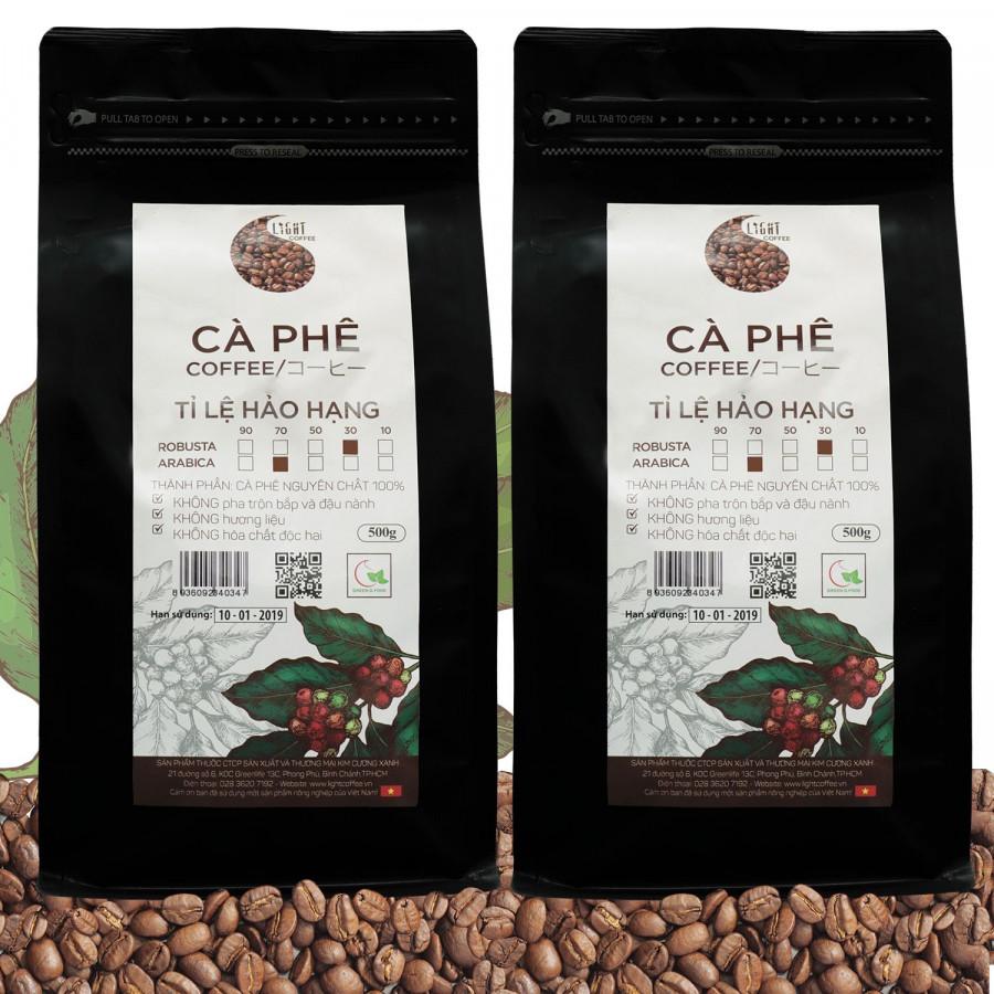 2 gói Cà phê Hạt nguyên chất 100% Tỉ lệ Hảo Hạng - 30% Robusta + 70% Arabica - Light coffee - gói 500g