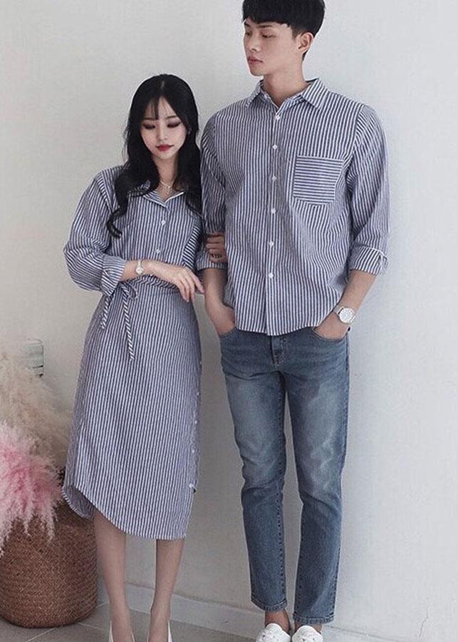 Bộ áo váy sơ mi cặp cao cấp, đồ đôi nam nữ chất đẹp AV172
