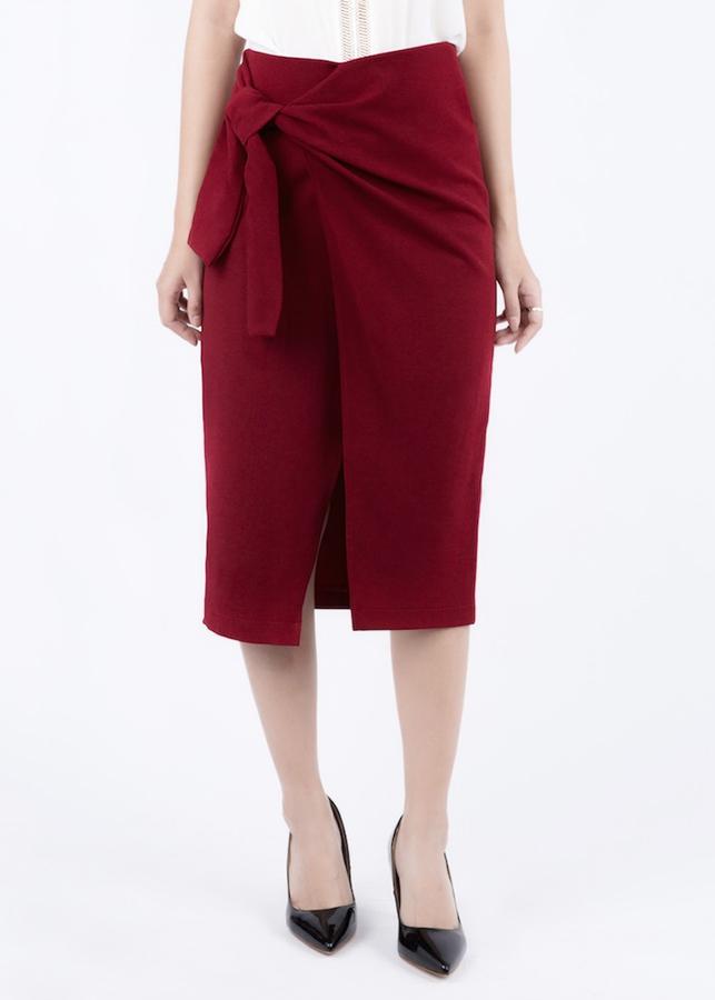 Chân Váy Midi Buộc Vạt De Leah - Đỏ