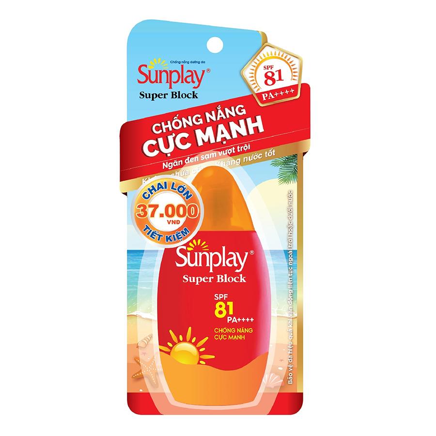 Sữa Chống Nắng Cực Mạnh Sunplay Super Block SPF81, PA++++ (70g) - 9405088 , 6661039031386 , 62_10861844 , 150000 , Sua-Chong-Nang-Cuc-Manh-Sunplay-Super-Block-SPF81-PA-70g-62_10861844 , tiki.vn , Sữa Chống Nắng Cực Mạnh Sunplay Super Block SPF81, PA++++ (70g)