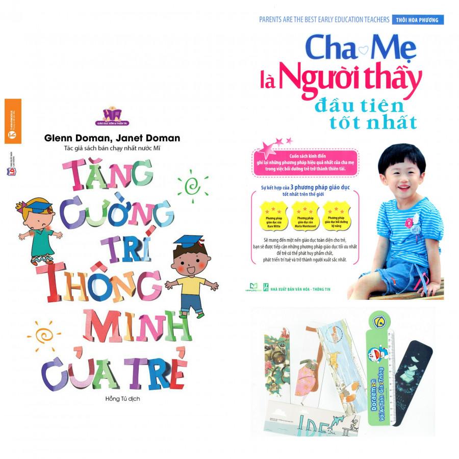 Combo 2 Cuốn: Tăng Cường Trí Thông Minh Của Trẻ + Cha Mẹ Là Người Thầy Đầu Tiên Tốt Nhất - Tặng Kèm Bookmark PĐ