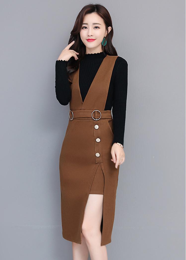 Set váy yếm dạ áo thun tay dài trẻ trung bốn mùa Quảng Châu D553