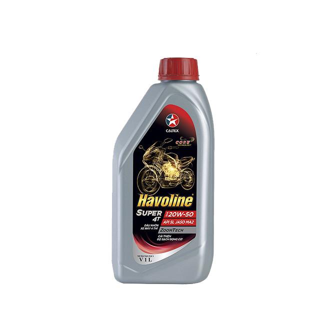 Dầu nhớt chính hãng cho xe số và xe côn tay Caltex Havoline Super 4T SAE 20W50 API SL, JASO MA2 1L - 1608875 , 3935085468919 , 62_10950107 , 120000 , Dau-nhot-chinh-hang-cho-xe-so-va-xe-con-tay-Caltex-Havoline-Super-4T-SAE-20W50-API-SL-JASO-MA2-1L-62_10950107 , tiki.vn , Dầu nhớt chính hãng cho xe số và xe côn tay Caltex Havoline Super 4T SAE 20W50