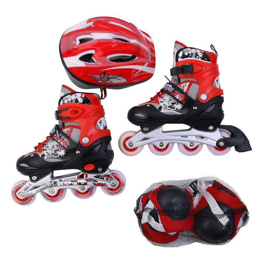 Combo Giày trượt patin Longfeng 906 + Mũ bảo hiểm + Bảo vệ chân tay
