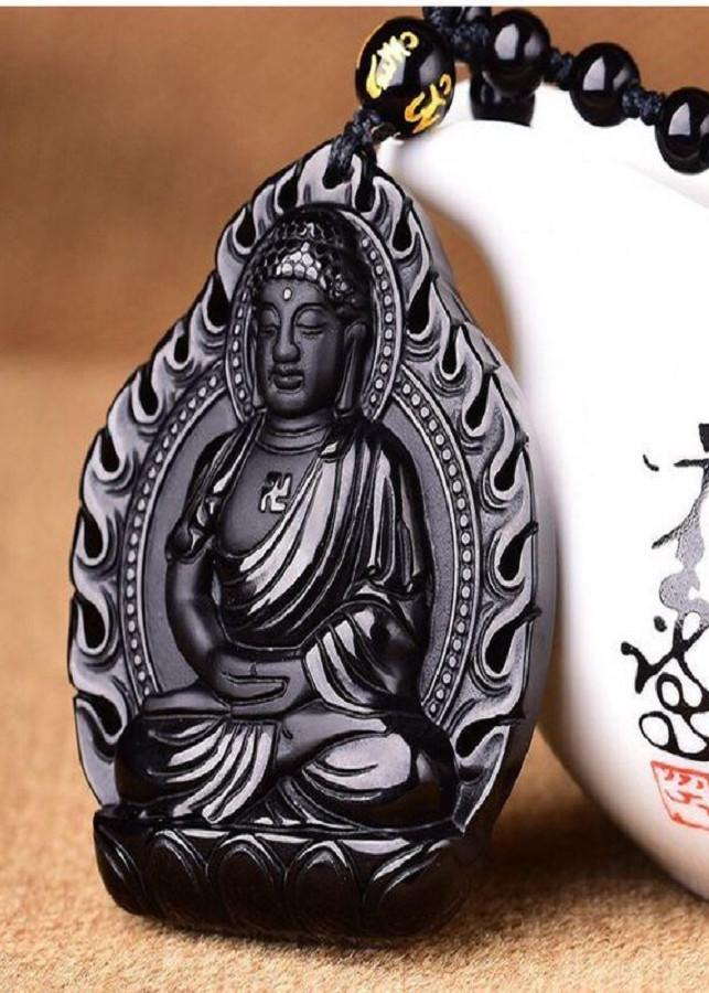 Dây chuyền Phật  A di đà đá Obsidian Độ Mệnh Tuổi Tuất-Hợi-DC60
