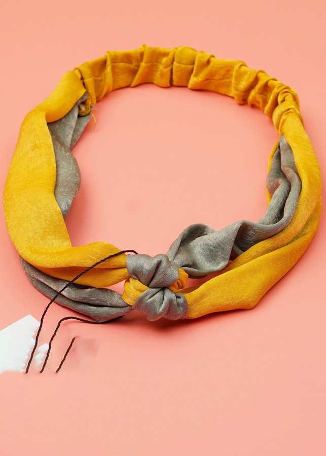 Băng Đô Cài Tóc Vải Thắt Bím Lụa Hàn Quốc Cao Cấp Màu Vàng-Xanh Ô Liu - Mã BD143