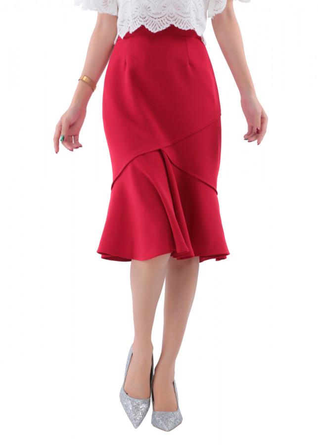 Chân Váy Nữ Đuôi Cá Đắp Chéo Cách Điệu YOFA