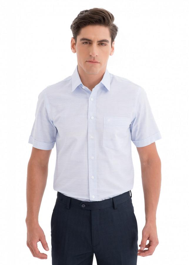 Áo sơ mi nam ngắn tay Mattana Slim-fit MAM21170121726101 màu xanh da trời nhạt