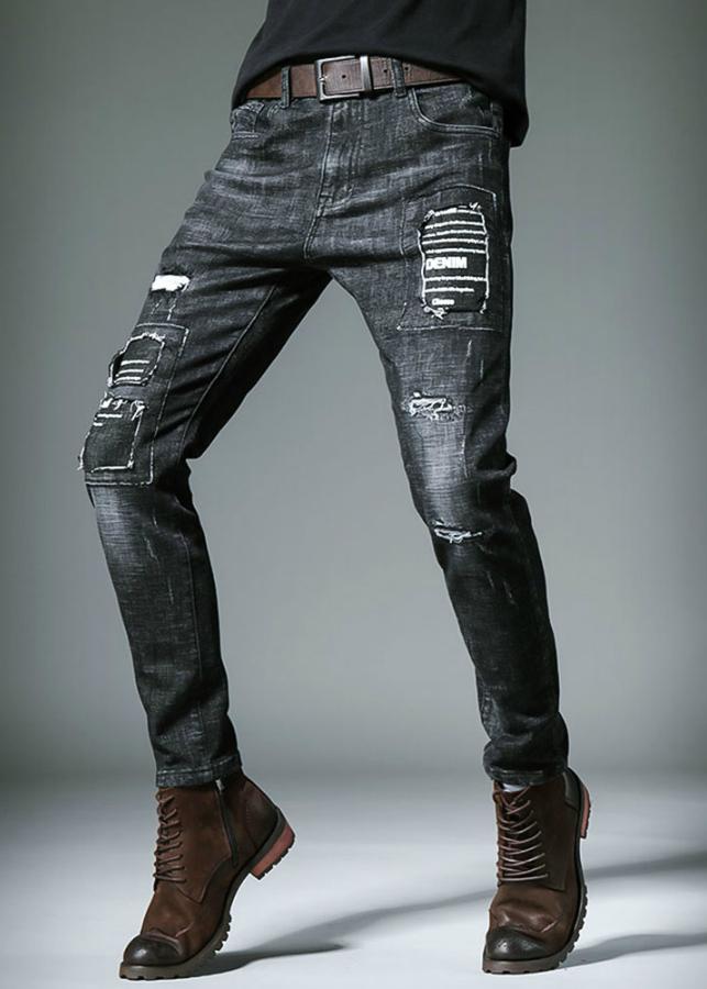 Quần jeans nam rách chắp vá denim ND1349