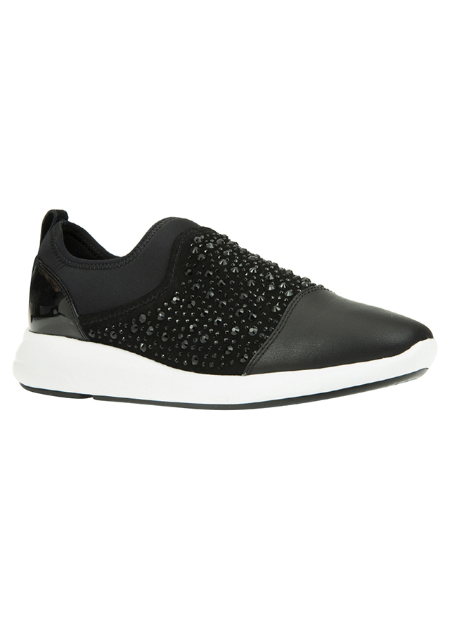 Giày Sneakers Nữ GEOX D OPHIRA B NAPPA+PAILETTES BLACK - Đen