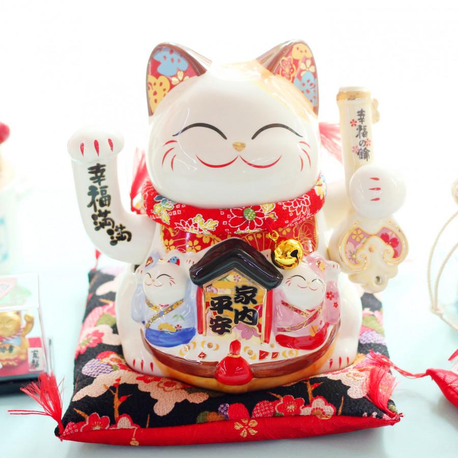 """Mèo Thần tài Jinshi Vẫy tay Chìa khoá """"Hạnh Phúc Mãn Mãn"""" 18cm"""