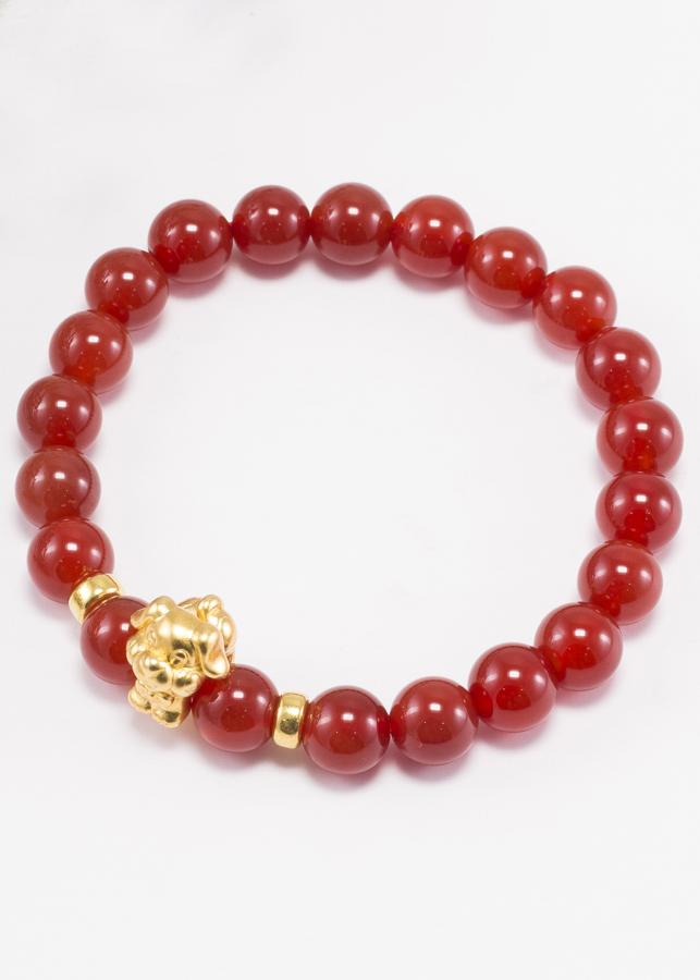 Vòng Tay Đá Mã Não Đỏ Charm Tuổi Tuất Bạc Mạ Vàng 24K Ngọc Quý Gemstones