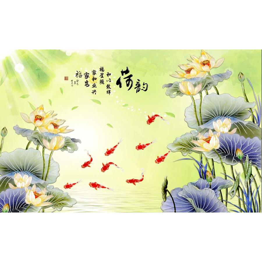 Tranh dán tường 3d | Tranh dán tường phong thủy hoa sen cá chép 3d 319