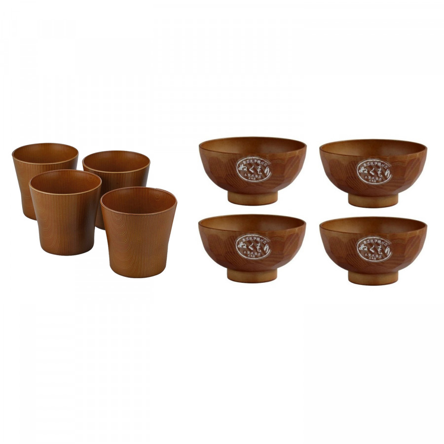 Combo 4 ly uống nước và 4 chén ăn cơm Nhật Bản sơn mài vân gỗ họa tiết tổ ong cao cấp EVAN - JB070