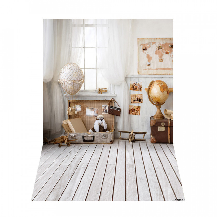 Andoer 1.5 x 2.1m/5 x 7ft Travel Theme Photography Background World Map Tellurion Luggage Wood Floor Backdrop Photo