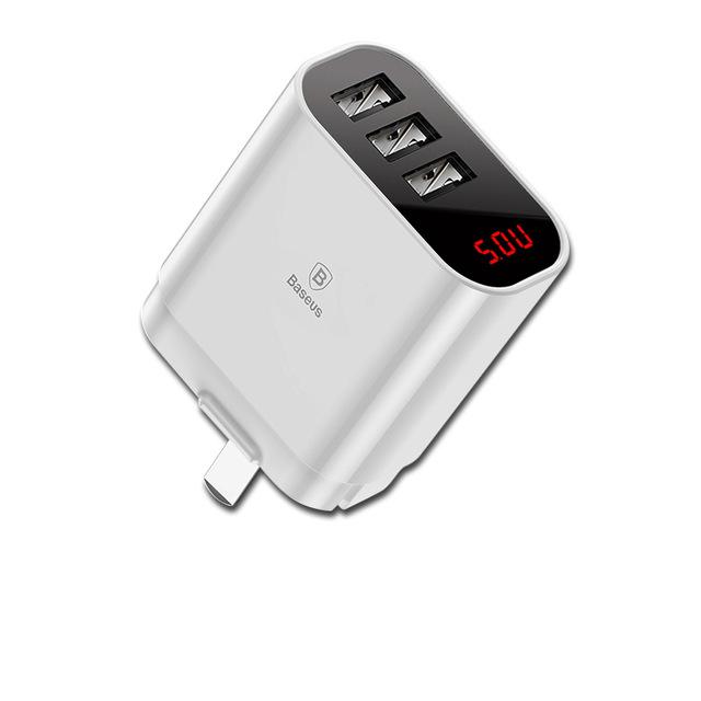 Adapter cóc sạc nhanh 3 cổng Baseus Travel Mirror Chip IC điều chỉnh dòng điện thông minh (Đầu gập) - Hàng chính hãng