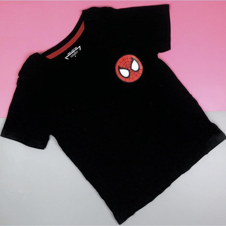 Áo Thun Lụa In Logo Người Nhện Cho Bé - Đen