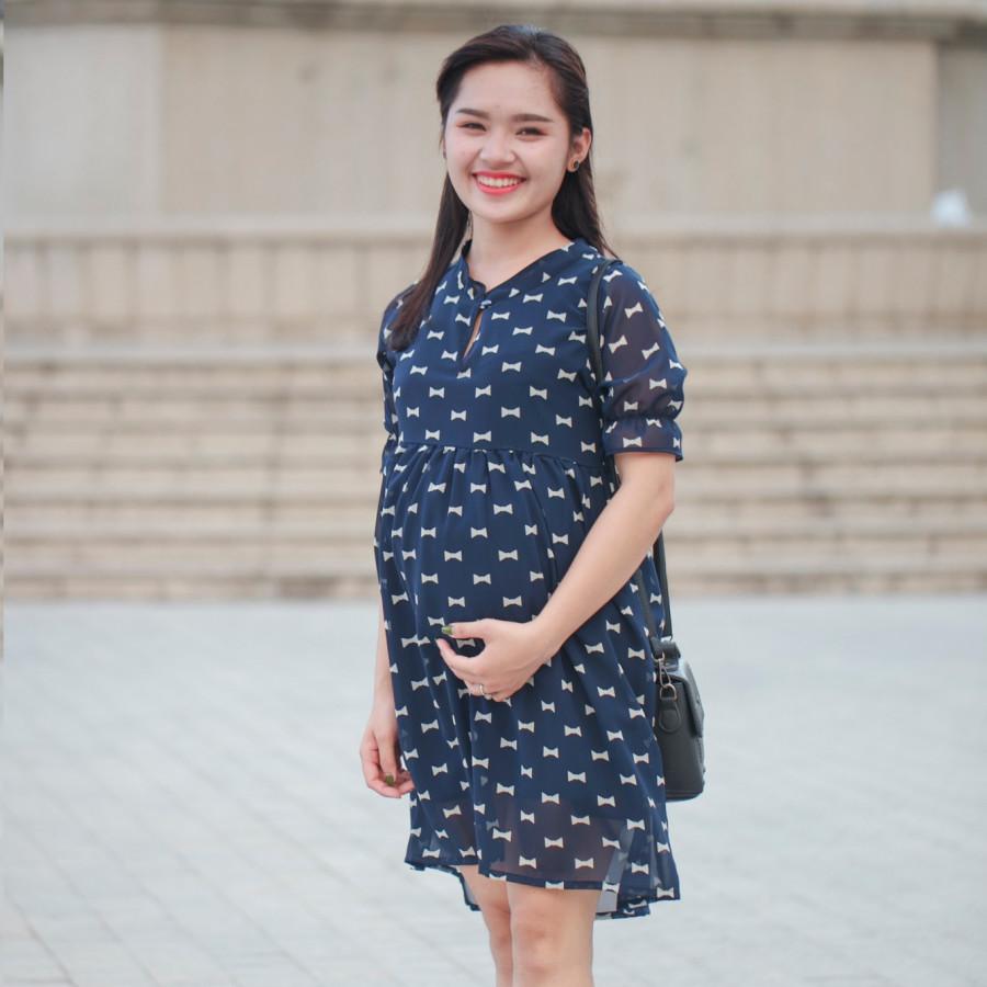 Đầm bầu cổ tàu trẻ trung 2 lớp