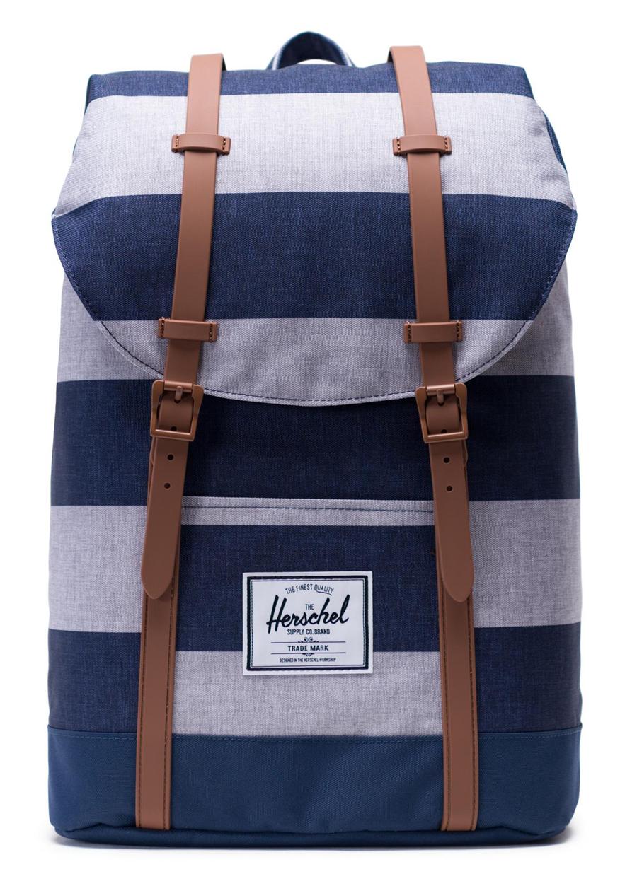 Balo Unisex Herschel Retreat Backpack 10066-02461-OS Border Stripe/Saddle Brown (17 x 12 x 5.75 cm)