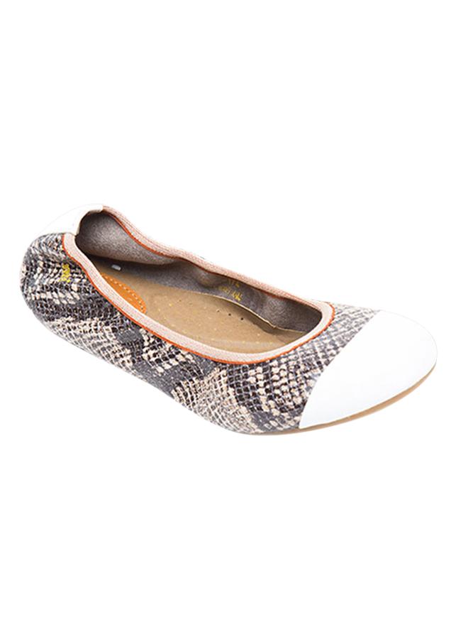 Giày Búp Bê Da Thật Vân Da Rắn Viền Thun Sulily B01-II17KEM