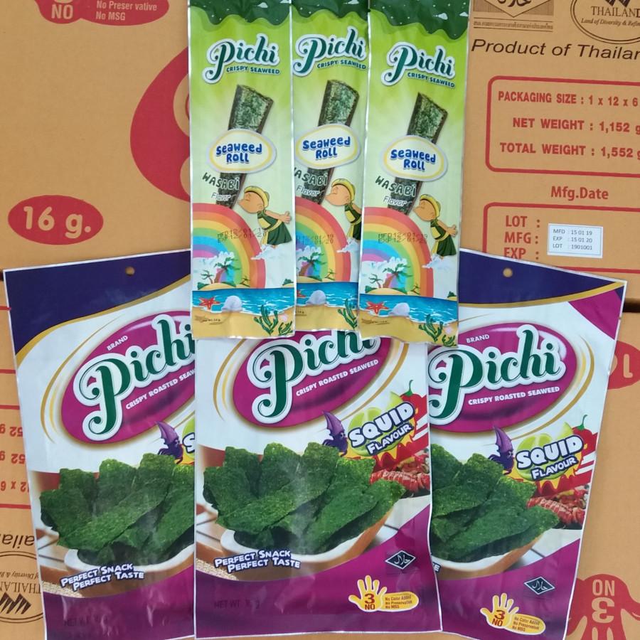 Combo snack 3 gói roll vị Wasabi và 3 gói seaweed vị mực Pichi