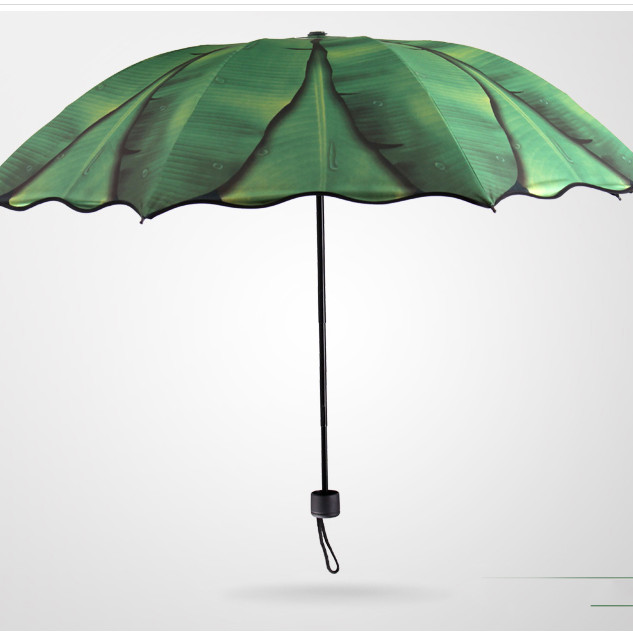 Ô dù cầm tay cao cấp chống tia UV lá chuối xanh bên ngoài