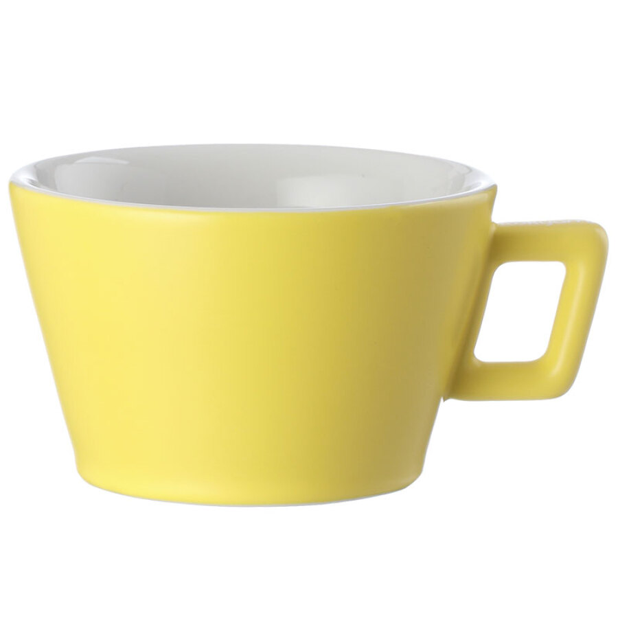 LOOKYAMI Macaron Coffee Cup Simple Ceramic Coffee Cup European Cup Solid Color Coffee Set 300cc Light Yellow