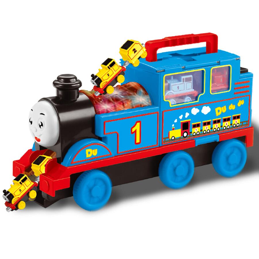 Baole Star Large Thomas Music Locomotive Child Toy Car Inertia Alloy Train Model Early Learning Educational Toys Set Thomas Train +8 Small Train